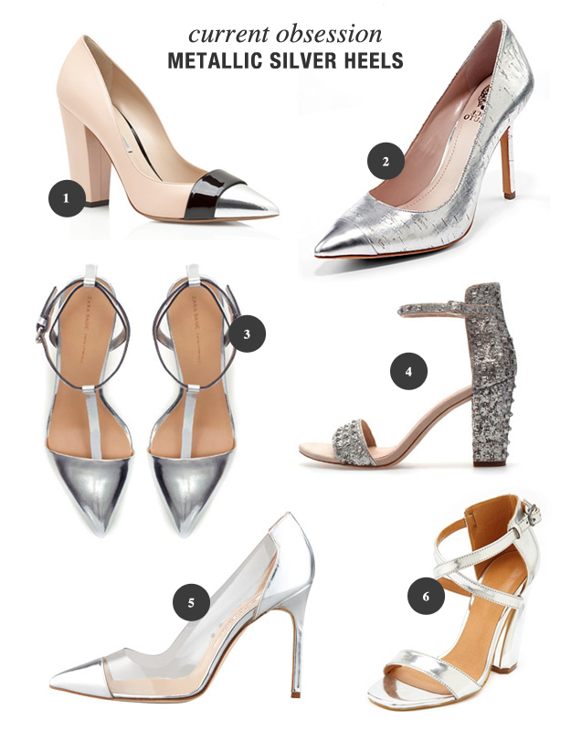 metallic silver heels photo