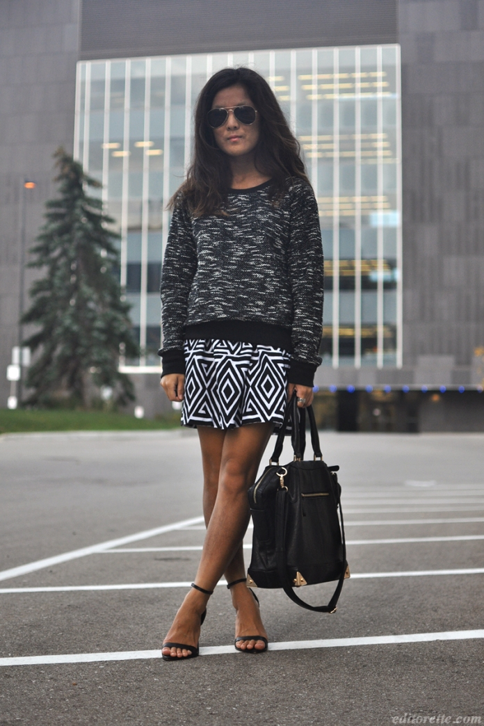 OOTD Textured Grey Sweater Geometric Skirt photo